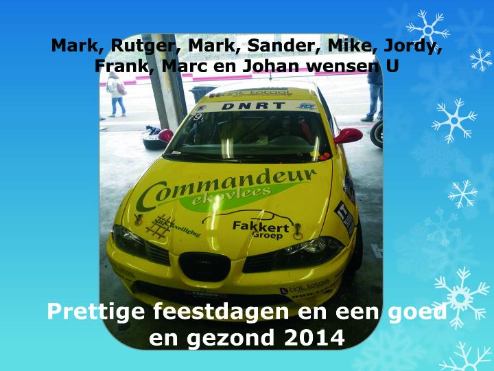 Kerst en nieuwjaarsgroet NOS Racing
